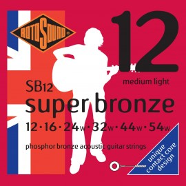 Rotosound SB12 'Super Bronze' Phosphor Bronze, Medium Light Acoustic Guitar Strings 12 - 54