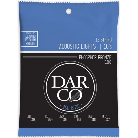 Darco by Martin 12 String 10-47 Light Phosphor Bronze Acoustic Guitar Strings D200