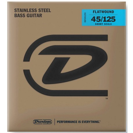 Dunlop 5 String Short Scale 45-125 Stainless Steel Bass Guitar Strings DBFS45125S