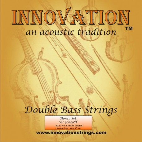 Innovation 140H 'Honey Set' Medium Tension Solid Core Chrome Tape Wound Double Bass Strings