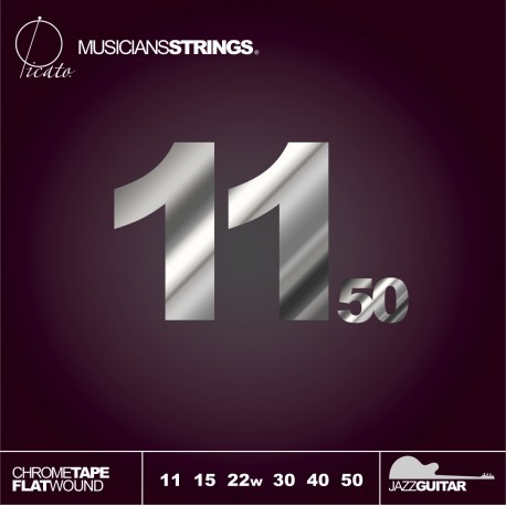 Picato 97915 Extra Light Polished Chrome Tape Flatwound Jazz Electric Guitar Strings 11 - 50