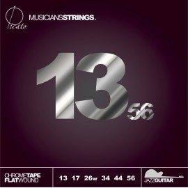 Picato 97935 Medium Polished Chrome Tape Flatwound Jazz Electric Guitar Strings 13 - 56