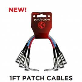 Kirlin 12 inch 3-Pack Fabric Coloured Angled Patch Cables / Lead
