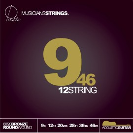 Picato 90602 12 String 80/20 Bronze Acoustic 09-46 Extra Light Acoustic Guitar Strings