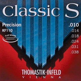 Thomastik Classic S Precision 10-38 Light Flatwound S/Steel Trebles & Nickel Basses Classical & Folk Guitar Strings KF110