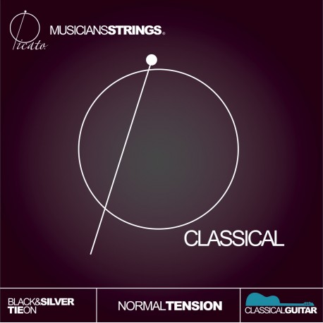 Picato 90767 Black & Silver Tie On Normal Tension Classical Guitar Strings