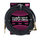 Ernie Ball Black (gold jacks) 10ft Braided Instrument Cable P06081