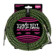 Ernie Ball Neon Black-Green 18ft Braided Instrument Cable P06082