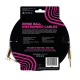 Ernie Ball Neon Black (gold jacks) 18ft Braided Instrument Cable P06086