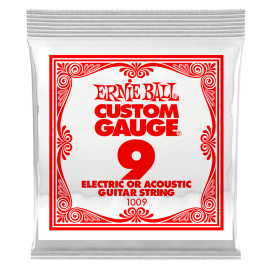 Ernie Ball P01009 Plain Steel .009 Single Electric or Acoustic Guitar String
