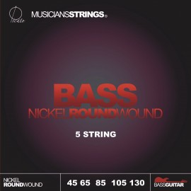 Picato 97358 Standard, 5 String Long Scale Nickel Roundwound Bass Strings 45 - 130