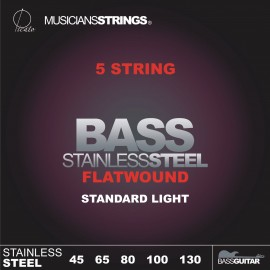 Picato 96658-5 Flatwound 5 String Standard Light Stainless Steel Long Scale Bass Strings 45 - 130