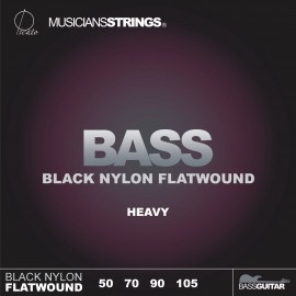 Picato 96511 Black Nylon Flatwound Heavy Long Scale Bass Strings 50 - 105