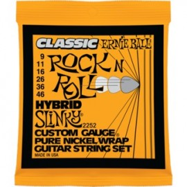 Ernie Ball 2252 Classic Rock n Roll Hybrid Slinky 09-46 Pure Nickel Electric Guitar Strings