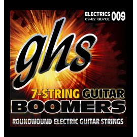 Ghs 7 String Boomers 09-62 Custom Light Nickel Wound Electric Guitar Strings GB7CL