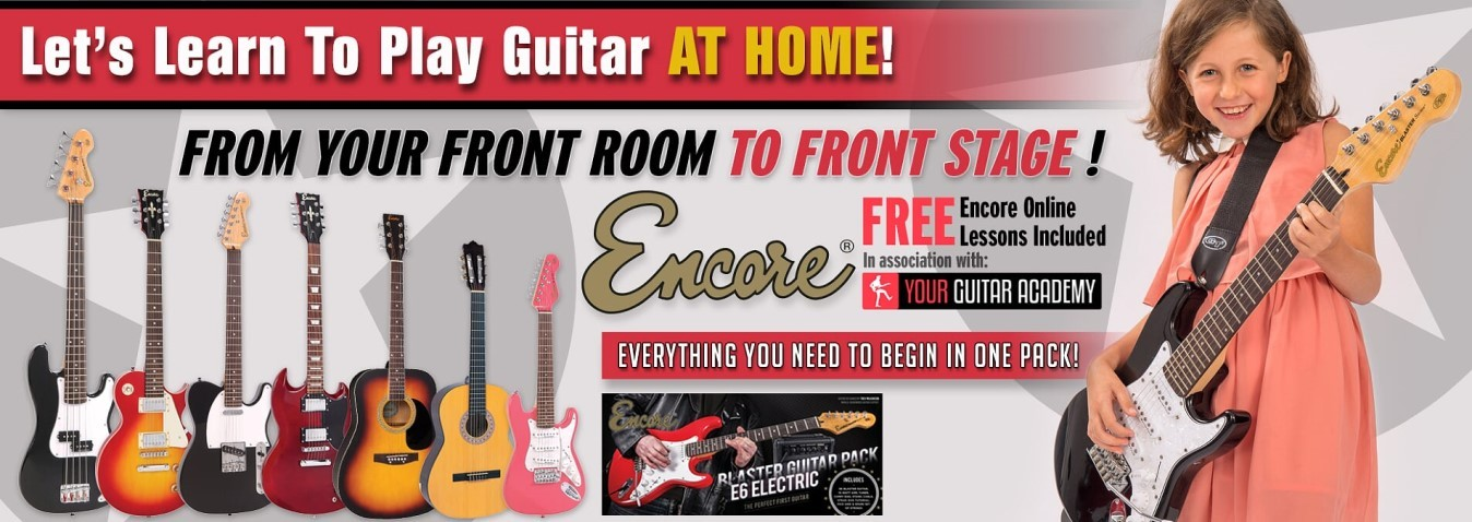Encore Guitar packs include...  Guitar of your choice, Practise amp, Guitar Strap, Digital Tuner, Guitar Lead, Plectrum/Pick, Guitar Stand, Tuition CD, Free Online Tuition. Or you can buy the guitar only!